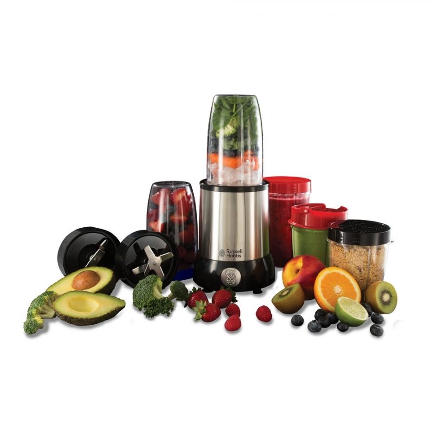 Блендер Russell Hobbs NutriBoost 23180-56, комплект с много аксесоари и съдове, подходящи за различна обработка на хранителни продукти и пренос на приготвените храни.
